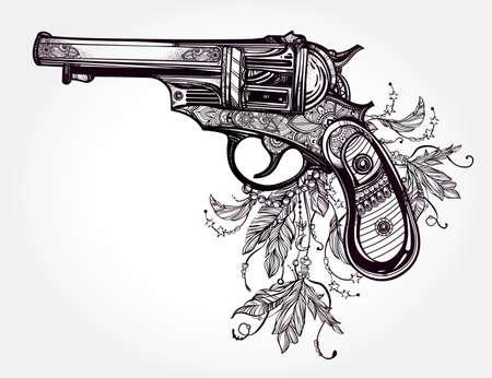 pistola: Dibujado a mano retro del arma del revólver de la pistola con plumas en el estilo vintage. símbolo de la libertad. Adornado tatuaje elemento de diseño. aislado ilustración. Tarjetas, camisetas, chatarra-reserva, el concepto de impresión de arte.