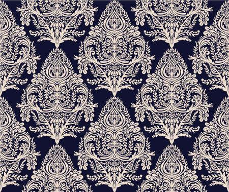 textil: La cosecha de fondo sin fisuras. Modelo del papel pintado barroco, para el diseño textil. Elegante adornos florales estilo lineal, aislado. Vectores