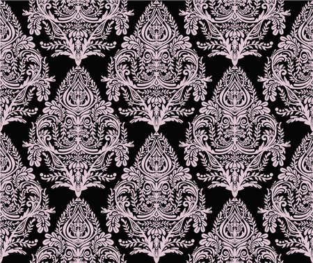 rosa negra: La cosecha de fondo sin fisuras. Modelo del papel pintado barroco, para el diseño textil. Elegante adornos florales estilo lineal, aislado. Vectores