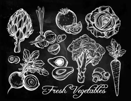 pizarron: Hortalizas establecen estilo lineal de la vendimia. Ilustración aislada. Dibujado a mano símbolos retro de veges surtidos. Menú perfecto, granja jardín, tienda, mercado, orgánico, vegetariano plantilla alimentos veganos. Vectores