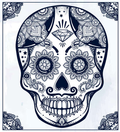 all saints day: Hand drawn Day of the Dead holiday - Dia de los Muertos in Spanish - sugar skull in ornate frame. Vintage style Hispanic folk spiritual art. All Saints Holiday mascot.  Illustration