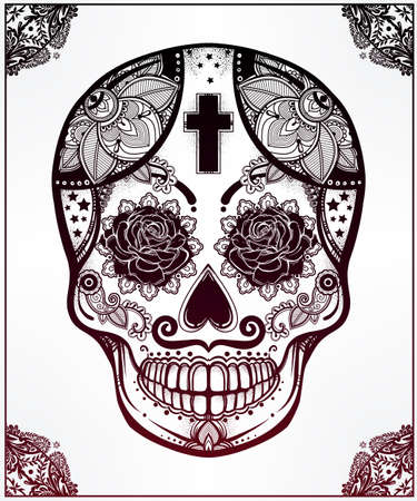 saints: Hand drawn Day of the Dead holiday - Dia de los Muertos in Spanish - sugar skull in ornate frame. Vintage style Hispanic folk spiritual art. All Saints Holiday mascot.