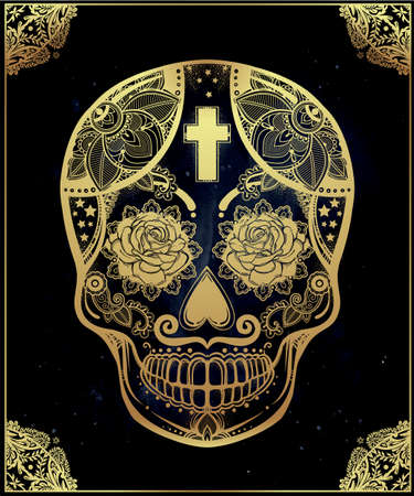 Hand drawn Day of the Dead holiday - Dia de los Muertos in Spanish - sugar skull in ornate frame. Vintage style Hispanic folk spiritual art. All Saints Holiday mascot.