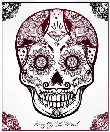ispanico: Disegnata a mano Giorno della vacanza Morti - Dia de los Muertos in spagnolo - teschio di zucchero in cornice decorata. Stile vintage popolare ispanico arte spirituale. Tutti mascotte Santi vacanza.