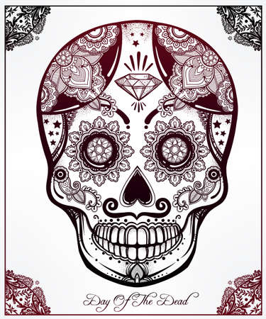 hispanic: Hand drawn Day of the Dead holiday - Dia de los Muertos in Spanish - sugar skull in ornate frame. Vintage style Hispanic folk spiritual art. All Saints Holiday mascot.  Illustration