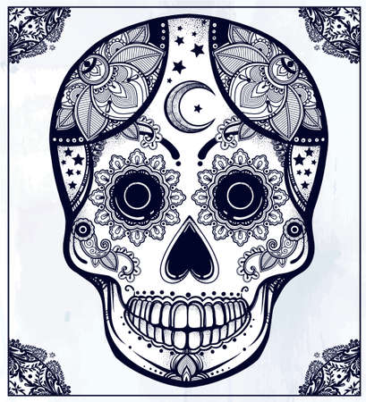 dia de los muertos: Hand drawn Day of the Dead holiday - Dia de los Muertos in Spanish - sugar skull in ornate frame. Vintage style Hispanic folk spiritual art. All Saints Holiday mascot.  Illustration