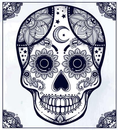 all saints day: Hand drawn Day of the Dead holiday - Dia de los Muertos in Spanish - sugar skull in ornate frame. Vintage style Hispanic folk spiritual art. All Saints Holiday mascot.  Illustration