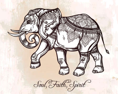 tatouage: Tir� par la main �l�phant orn�. Isolated illustration vectorielle. Id�al origine ethnique. Illustration