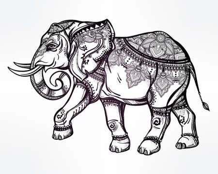elefante: Dibujado a mano elefante adornado. Ilustración vectorial aislado. Ideal origen étnico.