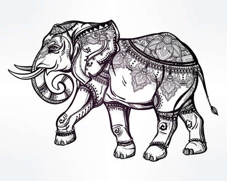 colouring: Hand drawn ornate elephant. Isolated vector illustration. Ideal ethnic background.