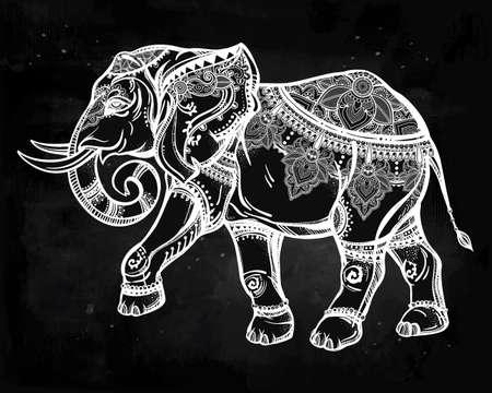 thailand art: Hand drawn ornate elephant. Isolated vector illustration. Ideal ethnic background.