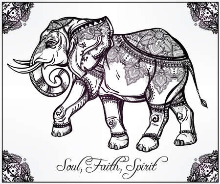 spirituality: Hand drawn ornate elephant in oriental floral frame.  Isolated vector illustration. Illustration