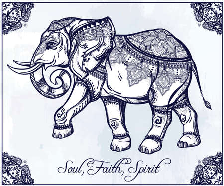 east africa: Hand drawn ornate elephant in oriental floral frame.  Isolated vector illustration. Illustration