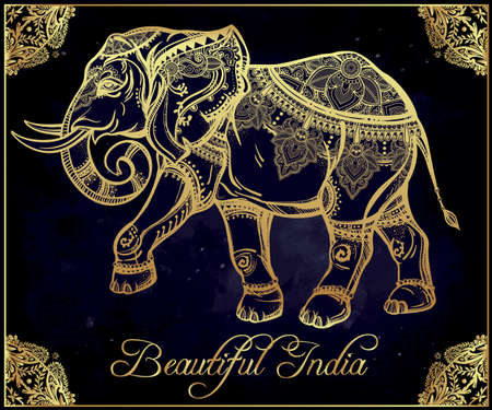 indian elephant: Hand drawn ornate elephant in oriental floral frame.  Isolated vector illustration. Illustration