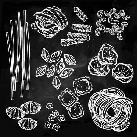 pastas: Dibujado a mano conjunto de la pasta italiana. Colección de diferentes tipos de pasta. Línea ilustración del arte retro del vector.