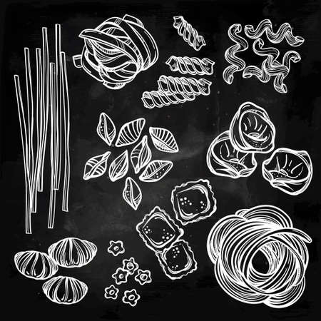 italian: Hand drawn Italian pasta set. Collection of different types of pasta. Retro line art vector illustration.