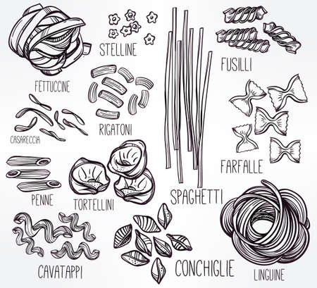 pasta: Dibujado a mano conjunto de la pasta italiana. Colección de diferentes tipos de pasta. Línea ilustración del arte retro del vector.