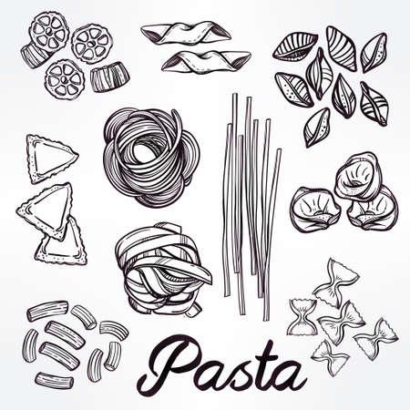 italian pasta: Dibujado a mano conjunto de la pasta italiana. Colecci�n de diferentes tipos de pasta. L�nea ilustraci�n del arte retro del vector.