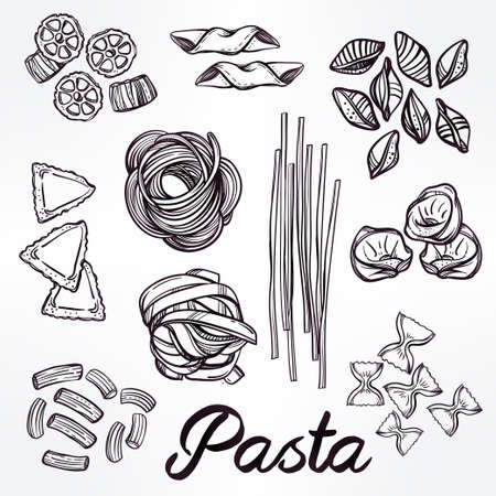 spaghetti: Hand drawn Italian pasta set. Collection of different types of pasta. Retro line art vector illustration.
