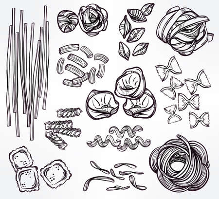 restaurante italiano: Dibujado a mano conjunto de la pasta italiana. Colección de diferentes tipos de pasta. Línea ilustración del arte retro del vector.