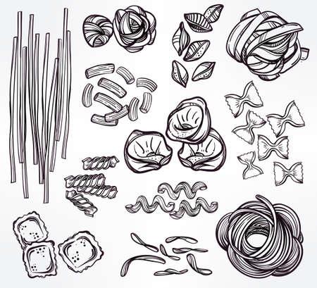 tagliatelle: Hand drawn Italian pasta set. Collection of different types of pasta. Retro line art vector illustration.