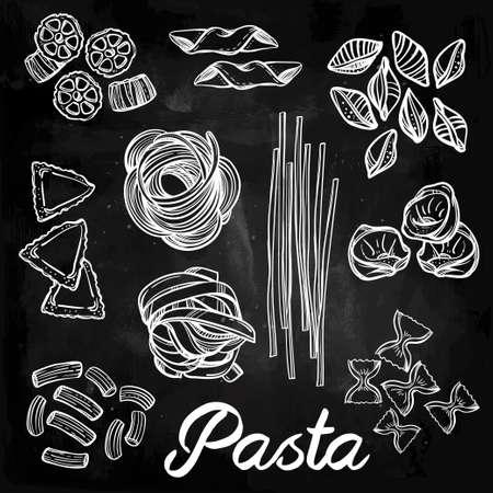 italian pasta: Hand drawn Italian pasta set. Collection of different types of pasta. Retro line art vector illustration.