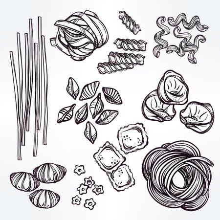 linguine pasta: Hand drawn Italian pasta set. Collection of different types of pasta. Retro line art vector illustration.