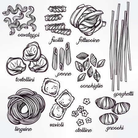 italian food: Hand drawn Italian pasta set. Collection of different types of pasta. Retro line art vector illustration.