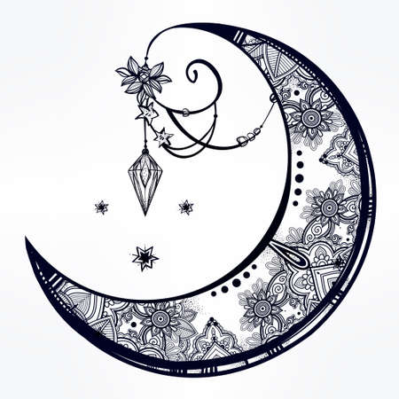 spiritual: Intricate hand drawn ornate crescent moon with feathers, gemstones. Isolated Vector illustration.Tattoo art, astrology, spirituality, alchemy, magic symbol. Ethnic, mystic tribal element for your use