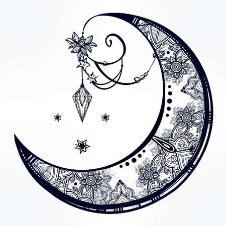 at symbol: Intricato mano disegnato ornato luna crescente con piume, pietre preziose. Isolata vettore illustration.Tattoo arte, astrologia, spiritualità, l'alchimia, simbolo magico. Etnica elemento tribale, mistico per l'uso