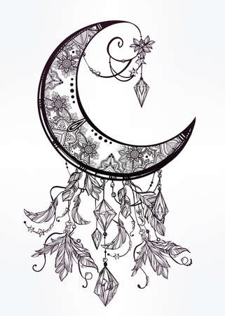 spiritual background: Intricate hand drawn ornate crescent moon with feathers, gemstones. Isolated Vector illustration.Tattoo art, astrology, spirituality, alchemy, magic symbol. Ethnic, mystic tribal element for your use