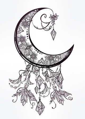 disegni cachemire: Intricato mano disegnato ornato luna crescente con piume, pietre preziose. Isolata vettore illustration.Tattoo arte, astrologia, spiritualità, l'alchimia, simbolo magico. Etnica elemento tribale, mistico per l'uso