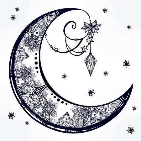 moon and stars: Intricate hand drawn ornate crescent moon with feathers, gemstones. Isolated Vector illustration.Tattoo art, astrology, spirituality, alchemy, magic symbol. Ethnic, mystic tribal element for your use
