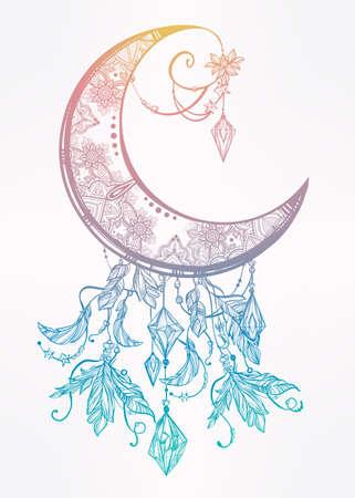 noche y luna: Un complejo entramado de mano dibujada luna creciente adornado con plumas, piedras preciosas. Arte Vector aislado illustration.Tattoo, astrología, espiritualidad, alquimia, símbolo mágico. Elemento tribal étnico, místico para su uso Vectores