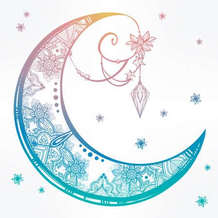 tribales: Un complejo entramado de mano dibujada luna creciente adornado con plumas, piedras preciosas. Arte Vector aislado illustration.Tattoo, astrología, espiritualidad, alquimia, símbolo mágico. Elemento tribal étnico, místico para su uso Vectores