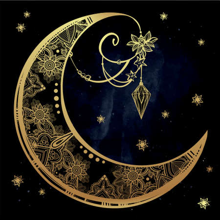 magic book: Intricate hand drawn ornate crescent moon with feathers, gemstones. Isolated Vector illustration.Tattoo art, astrology, spirituality, alchemy, magic symbol. Ethnic, mystic tribal element for your use