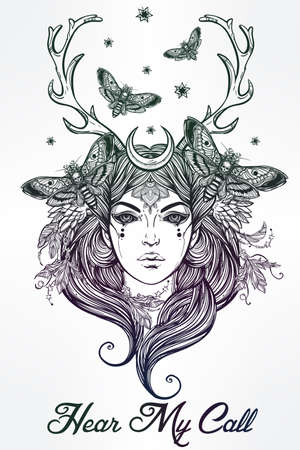 hair feathers: Hand drawn beautiful artwork of Banshee portriat - a female spirit in Irish mythology. Alchemy, religion, spirituality, occultism, tattoo art, coloring books. Isolated vector illustration.