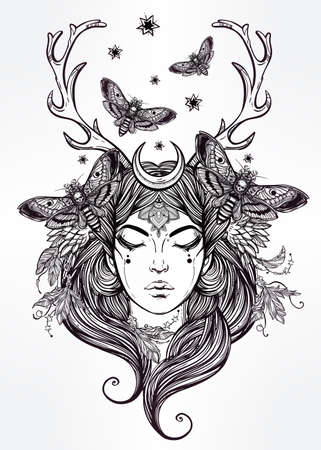 nature woman: Hand drawn beautiful artwork of female shaman portriat. Alchemy, religion, spirituality, occultism, tattoo art, coloring books. Isolated vector illustration.