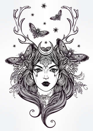 books isolated: Hand drawn beautiful artwork of female shaman portriat. Alchemy, religion, spirituality, occultism, tattoo art, coloring books. Isolated vector illustration.