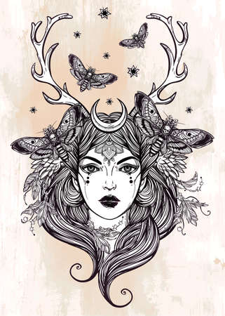shamanism: Hand drawn beautiful artwork of female shaman portriat. Alchemy, religion, spirituality, occultism, tattoo art, coloring books. Isolated vector illustration.