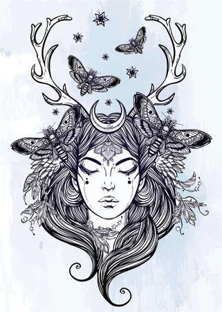 demonio: Dibujado a mano hermosas obras de arte de la hembra Portriat chamán. Libros de alquimia, religión, espiritualidad, ocultismo, arte del tatuaje, colorantes. Ilustración vectorial aislado.