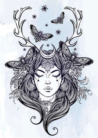 spiritual woman: Hand drawn beautiful artwork of female shaman portriat. Alchemy, religion, spirituality, occultism, tattoo art, coloring books. Isolated vector illustration.