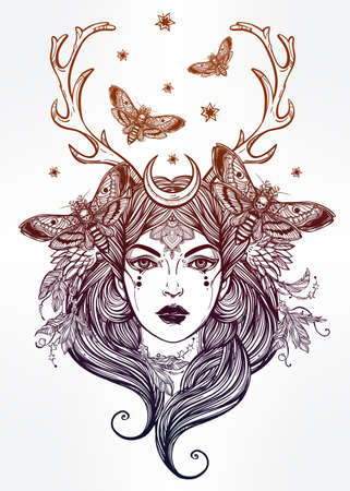 nymph: Hand drawn beautiful artwork of female shaman portriat. Alchemy, religion, spirituality, occultism, tattoo art, coloring books. Isolated vector illustration.