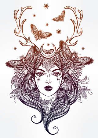 mond: Hand gezeichnete schöne Kunstwerk von Schamanin portriat. Alchemie, religion, spiritualität, Okkultismus, Tattoo-Kunst, Färbung Bücher. Isolierten Vektor-Illustration.