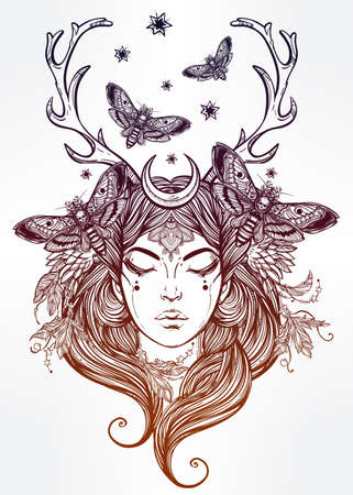 priestess: Hand drawn beautiful artwork of female shaman portriat. Alchemy, religion, spirituality, occultism, tattoo art, coloring books. Isolated vector illustration.