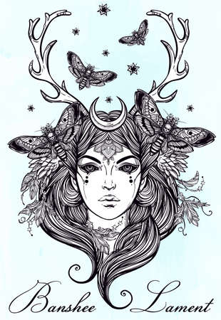 pagan: Hand drawn beautiful artwork of Banshee portriat - a female spirit in Irish mythology. Alchemy, religion, spirituality, occultism, tattoo art, coloring books. Isolated vector illustration.