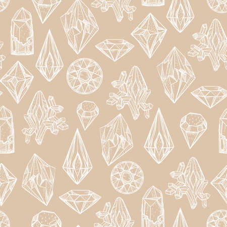 gemstones: Vector seamless pattern with different gemstones in retro design. Isolated vector illustration. Illustration