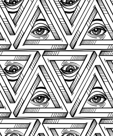 pyramidal: All seeing eye seamless pattern. Hand drawn Eye pyramidal symbol and cross. Alchemy, religion, spirituality, occultism, textiles art. Isolated vector illustration. Conspiracy theory.
