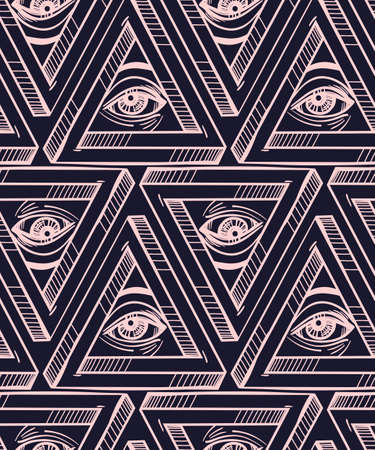 illuminati: All seeing eye seamless pattern. Hand drawn Eye pyramidal symbol and cross. Alchemy, religion, spirituality, occultism, textiles art. Isolated vector illustration. Conspiracy theory.