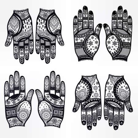 indische muster: Kunstvolle H�nde mit Henna line art set - orientalische traditionelle festliche Henna-Tattoos f�r Frauen. Sch�ne isoliert Vektor-Illustration.
